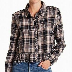 Abound Flannel Ruffle Hem Plaid Shirt NWT